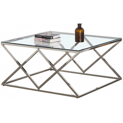 Table basse carré design en acier inoxydable poli argenté et plateau en verre trempé transparent L. 100 x P. 100 x H. 50 cm collection ROMA