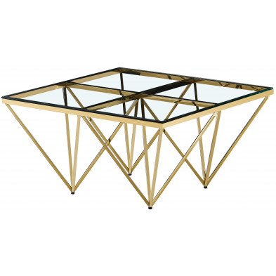 Table basse design carré en acier inoxydable poli doré et plateau en verre trempé transparent L. 80 x P. 80 x H. 42 cm collection VERONA