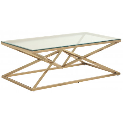 Table basse design en acier inoxydable poli doré et plateau en verre trempé transparent  L. 120 x P. 65 x H. 45 cm collection PARMA