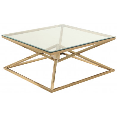 Table basse design carré en acier inoxydable poli doré et plateau en verre trempé transparent L. 100 x P. 100 x H. 43 cm collection PARMA