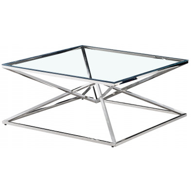 Table basse design carré en acier inoxydable poli argenté et plateau en verre trempé transparent L. 100 x P. 100 x H. 43 cm collection PARMA