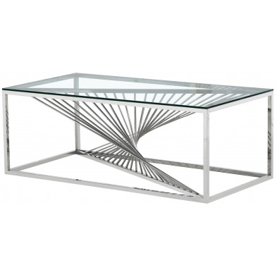 Table basse design en acier inoxydable poli argenté et plateau en verre trempé transparent L. 120 x P. 60 x H. 45 cm collection BOLZANO