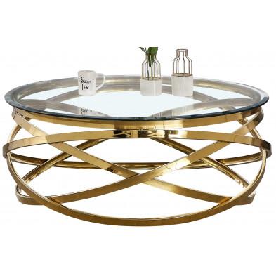 Table basse design rond avec piètement en acier inoxydable poli doré et plateau en verre trempé transparent L. 100 x H. 43 cm collection ENRICO