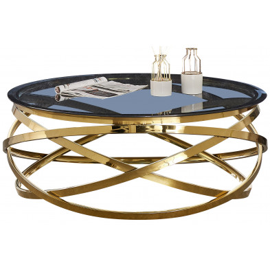 Table basse design rond avec piètement en acier inoxydable poli doré et plateau en verre trempé anthracite L. 100 x H. 43 cm collection ENRICO