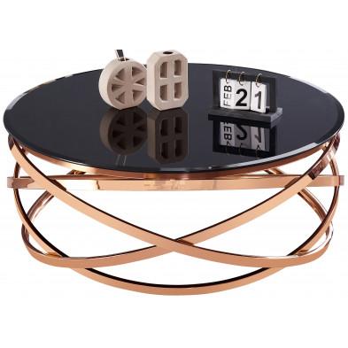 Table basse design rond avec piètement en acier inoxydable poli rose gold et plateau en verre trempé noir L. 100 x H. 43 cm collection ENRICO