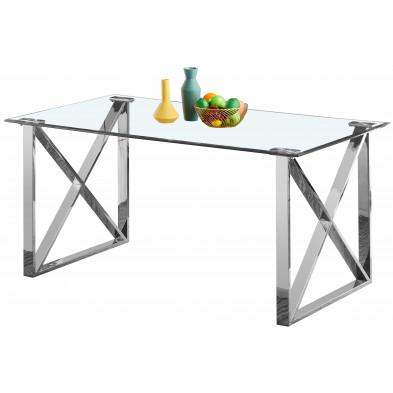 Table de salle à manger design  plateau en miroir avec piètement en acier inoxydable poli collection COSTA  L. 160 x P. 90 x H. 75 cm