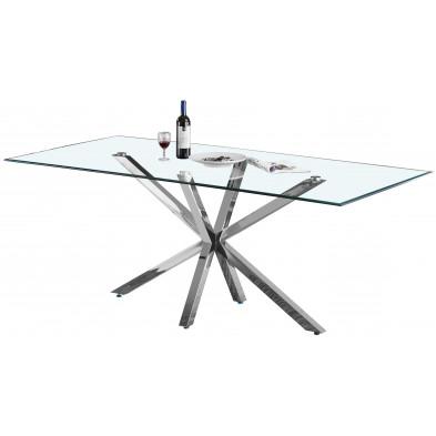 Table de salle à manger design plateau en miroir avec piètement en acier inoxydable poli collection RUSSO L. 200 x P. 100 x H. 75 cm