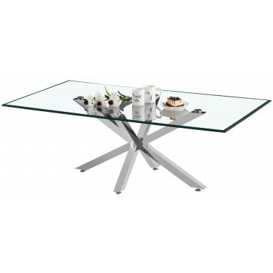 Table basse design plateau en miroir avec piètement en acier inoxydable poli collection RUSSO L. 130 x P. 70 x H. 42 cm