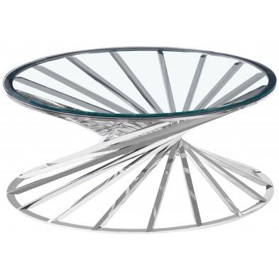 Table basse design plateau en miroir avec piètement en acier inoxydable poli collection ROMANI L. 100 x P. 100 x H. 43 cm