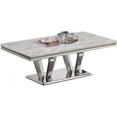Table basse design plateau en marbre gris et piètement en acier inoxydable poli argenté  Collection Valentino L. 130 x P. 70 x H. 46 cm
