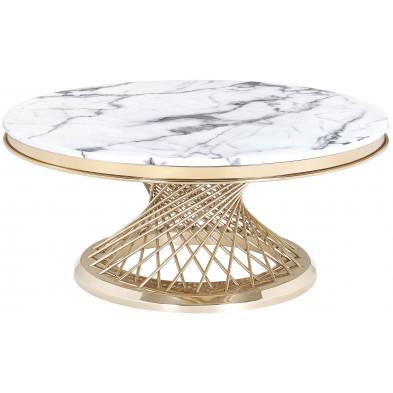 Table base design rond plateau en marbre gris et piètement en acier inoxydable poli doré Collection MARCELO L. 100 x P. 100 x H. 46 cm