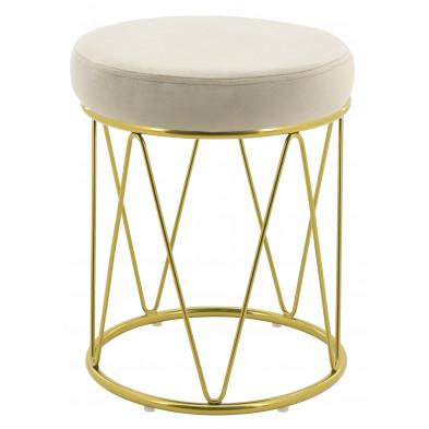Pouf design revêtement velours beige avec piètement en acier doré collection PUFFY L. 35 x H. 44 cm