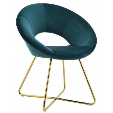 Chaise salle à manger design revêtement en velours vert avec piètement en acier doré en acier doré collection BARCLAY L. 49 x P. 50 x H. 48 cm