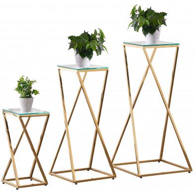 Ensemble de 3 tables d'appoints design en acier inoxydable doré avec plateau en verre trempé transparent Collection Pisa L. 45-35-24 x P. 45-35-24 x H. 94-79-51 cm