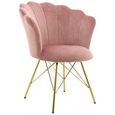 Chaise salle à manger design revêtement en velours rose avec piètement en acier doré collection CONRAD L. 45 x P. 44.5 x H. 84.5 cm