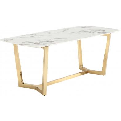 Table de salle à manger design avec un plateau en marbre artificiel blanc et un piètement en acier inoxydable poli doré Collection Veneta L. 200 x P. 100 x H. 76 cm