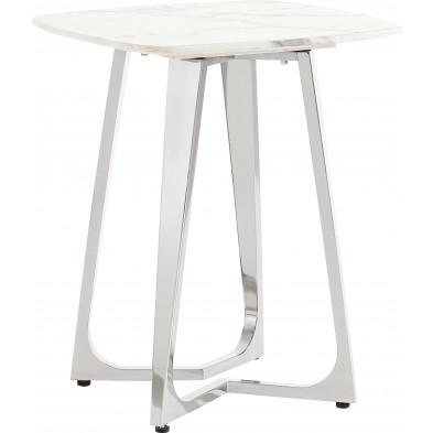 Table d'appoint design avec un plateau en marbre artificiel blanc et un piètement en acier inoxydable poli argenté Collection Veneta L. 50 x P. 50 x H. 60 cm