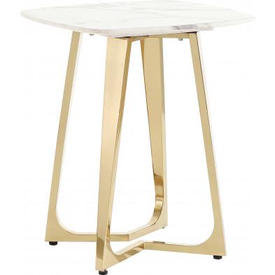 Table d'appoint design avec un plateau en marbre artificiel blanc et un piètement en acier inoxydable poli doré Collection Veneta L. 50 x P. 50 x H. 60 cm