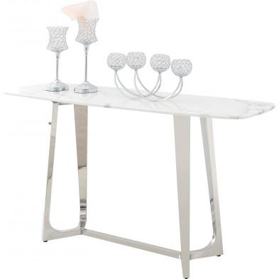 Console design avec un plateau en marbre artificiel blanc et un piètement en acier inoxydable poli argenté Collection Veneta L. 150 x P. 45 x H. 80 cm