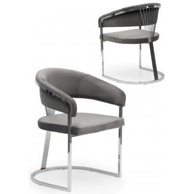 Chaise design en acier chromé argenté et revêtement en velours gris foncé collection ALARA L. 55 x P. 55 x H. 85 cm
