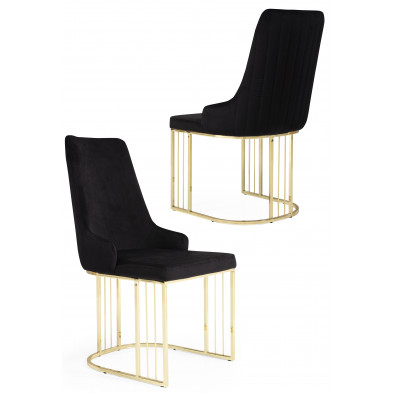 Chaise design en revêtement velours noir et piétement en acier chromé doré L. 50 x P. 50 x H. 97 cm collection RAGNA