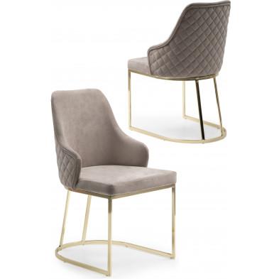 Chaise design en acier chromé doré et revêtement en velours beige collection EDDA L. 47 x P. 56 x H. 85 cm