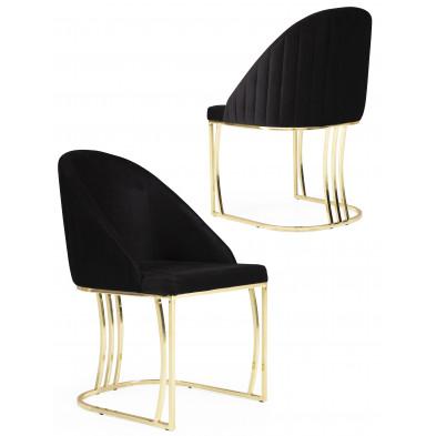 Chaise noir design en velours avec piétement en acier chromé doré L. 50 x P. 50 x H. 85 cm collection ANTONIA