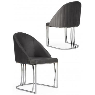 Chaise gris foncé design en velours avec piétement en acier chromé argenté L. 50 x P. 50 x H. 85 cm collection ANTONIA