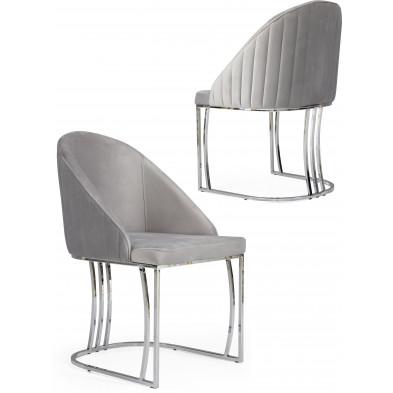 Chaise gris clair design en velours avec piétement en acier chromé argenté L. 50 x P. 50 x H. 85 cm collection ANTONIA