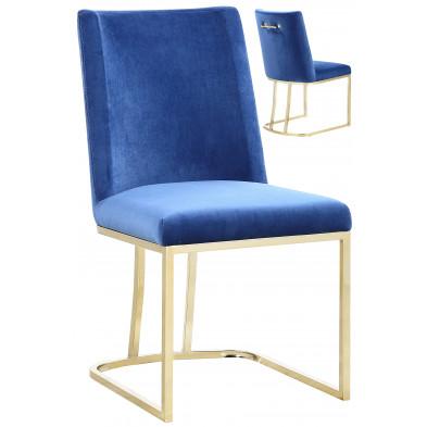 Lot de 2 chaises de salle à manger  design revêtement en velours bleu avec piétement en acier doré  L. 45.5 x P. 53.6 x H. 86 cm collection MILO