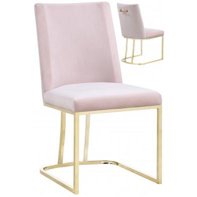 Lot de 2 chaises  de salle à manger  design revêtement en velours rose avec piétement en acier doré  L. 45.5 x P. 53.6 x H. 86 cm collection MILO