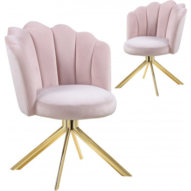 Lot de 2 chaises  de salle à manger design pivotante revêtement en velours  rose avec piètement en acier doré L. 47 x P. 47 x H. 82 cm collection MARIO