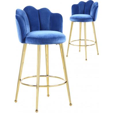 Lot de 2 tabourets de bar design en velours bleu avec piétement en acier doré L. 55 x P. 44 x H. 102 cm collection MARIO