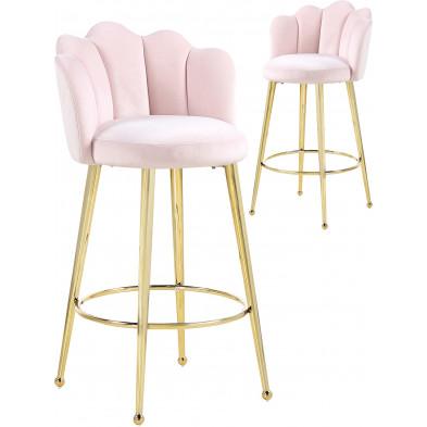 Lot de 2 tabourets de bar design en velours rose avec piétement en acier doré L. 55 x P. 44 x H. 102 cm collection MARIO