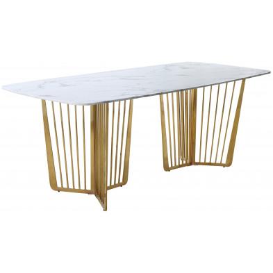 Table  de salle à manger design avec plateau en marbre  blanc et pieds en acier doré L. 200 x P. 76 x H. 76 cm Collection FASTRO
