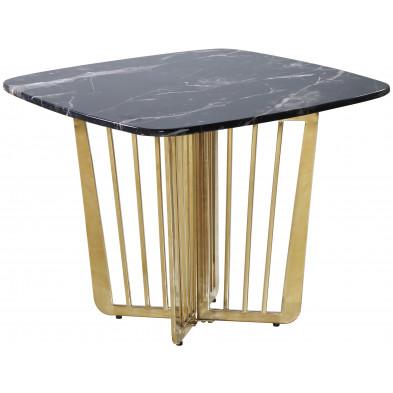 Table  d'appoint design avec plateau en marbre noir et piètement en acier doré L. 65 x P. 65 x H. 52 cm collection FASTRO