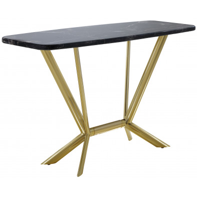 Console design avec plateau en marbre noir et piètement en acier doré L. 140 x P. 50 x H. 85 cm collection FIRENZE