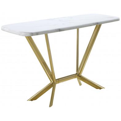 Console design avec plateau en marbre blanc et piètement en acier doré L. 140 x P. 50 x H. 85 cm collection FIRENZE