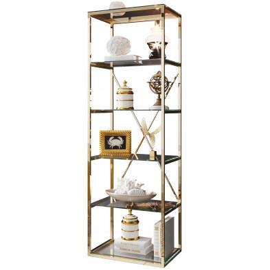 Bibliothèque design en acier et verre  coloris  or L. 60 x P. 40 x H. 180 cm collection COMO