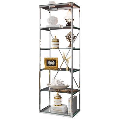 Bibliothèque design en acier et verre  coloris  argenté L. 60 x P. 40 x H. 180  cm collection COMO