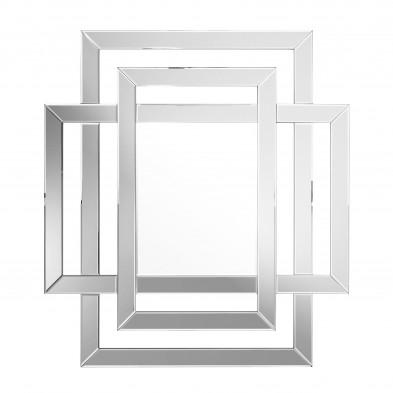 Miroir mural argenté design effet 3D en verre L. 100 x P. 2 x H. 110 cm collection FIANTO