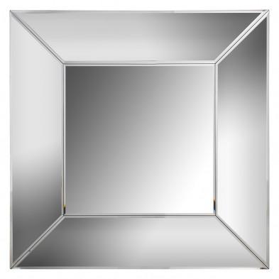 Miroir mural ultra design carré avec contour biseauté effet 3D en bois mdf et verre  L. 100 x P. 5 x H. 100 cm  collection SERRE