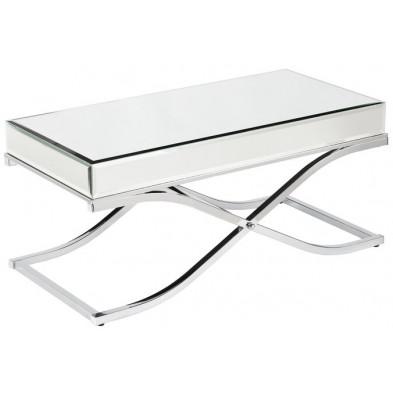Table basse design plateau et contour en miroir avec un piètement croisée en acier inoxydable poli L. 100 x P. 60 x H. 50 cm collection NOVE