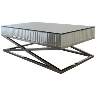 Table basse design plateau et contour en miroir avec un piètement croisée en acier inoxydable poli L. 130 x P. 70 x H. 40 cm collection GALA