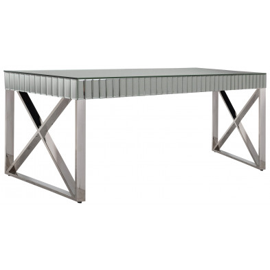 Table de salle à manger design plateau en miroir avec piètement en acier inoxydable poli L. 200 x P. 100 x H. 76 cm collection GALA
