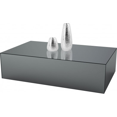 Table basse design bloc rectangle en miroir anthracite L. 130 x P. 70 x H. 45 cm collection PALO