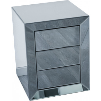 Table de chevet ultra design en miroir anthracite avec 3 tiroirs push open L. 45 x P. 45 x H. 58 cm collection LENNA