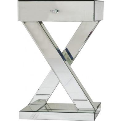 Table chevet ultra design avec pied croisé en miroir avec 1 tiroir L. 45 x P. 35 x H. 65 cm collection SESTU