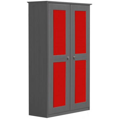 Armoire contemporaine rouge  en bois massif    L. 86 x H. 196 cm collection Genoveffa