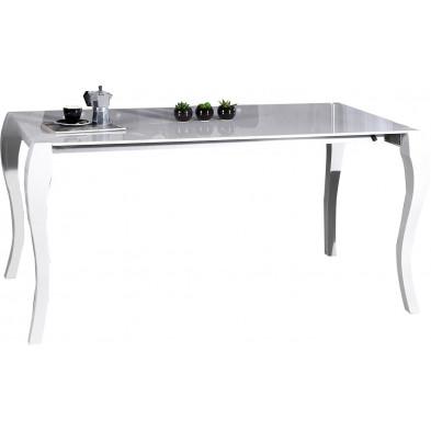 Table à manger blanche brillante extensible de style baroque L. 170/200/230 x H. 80 cm collection Baarlenabau